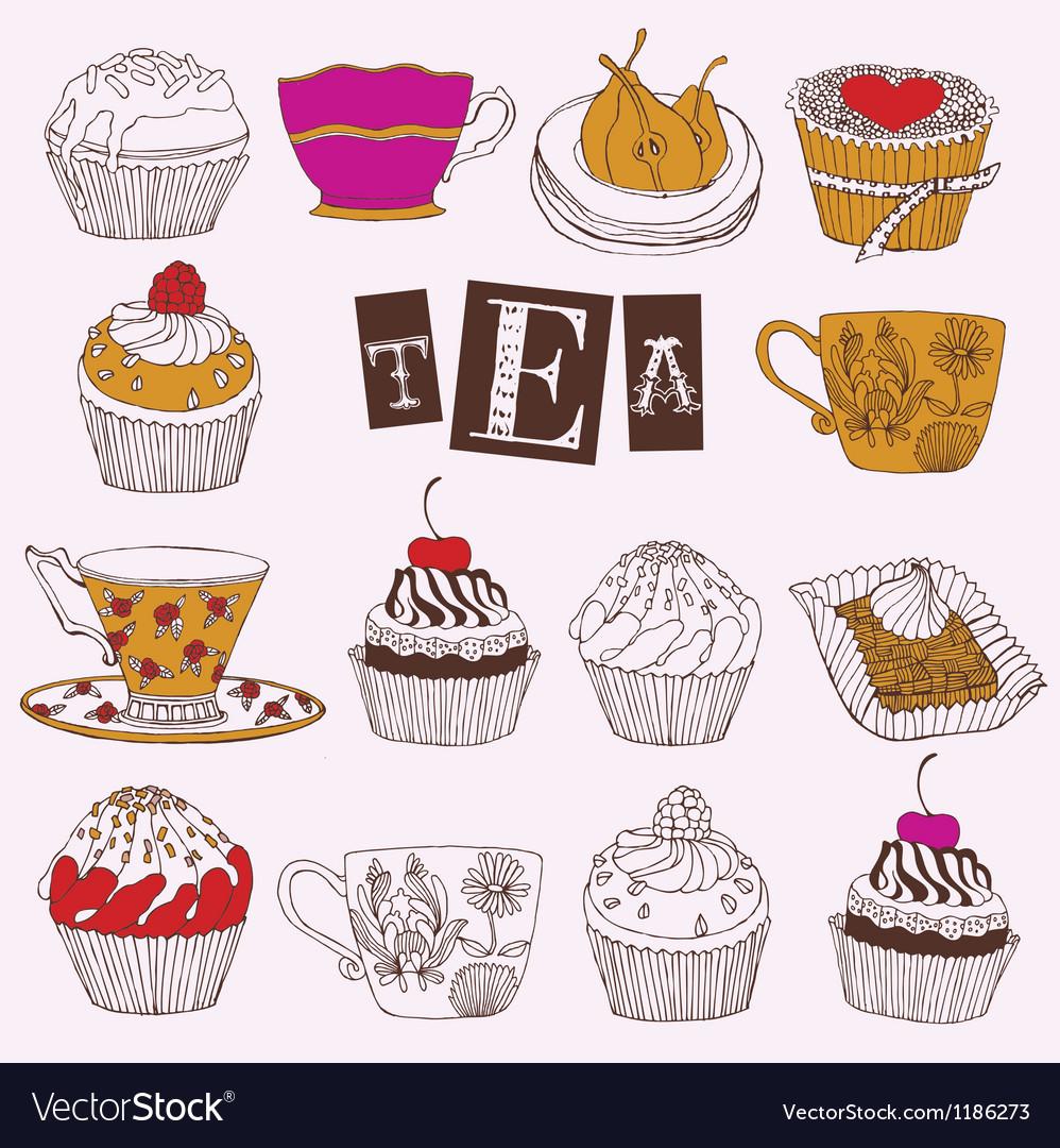 Tea cupcakes vector