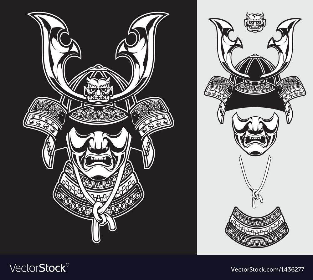 Detailed samurai armor vector
