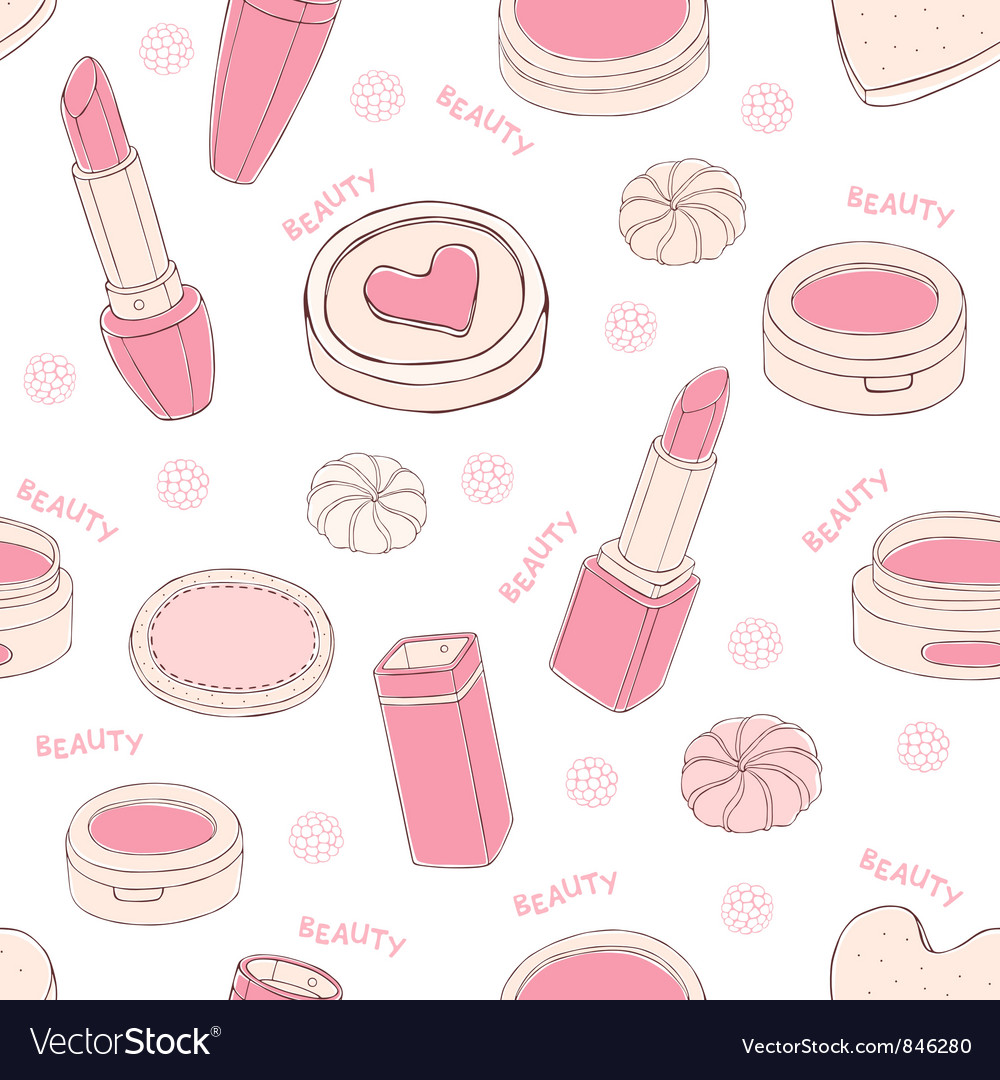 Makeup seamless pattern vector