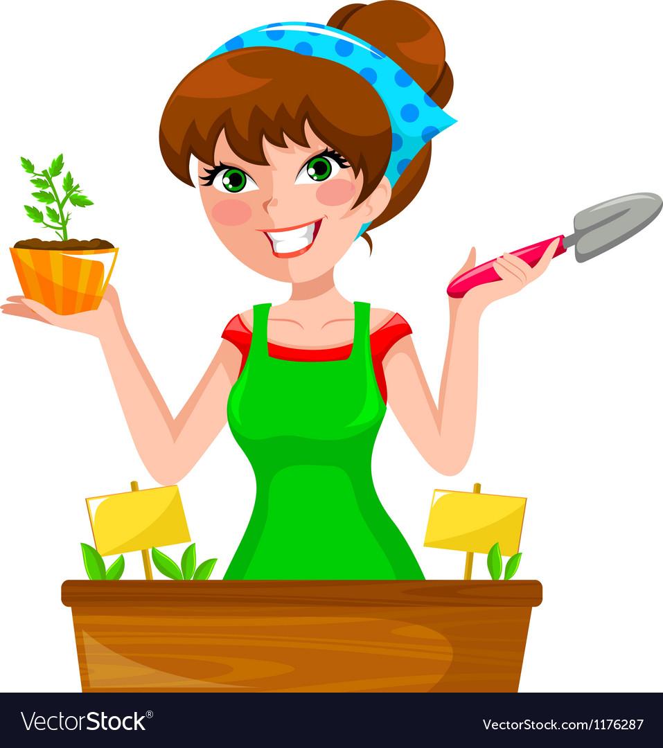 Gardenning girl vector