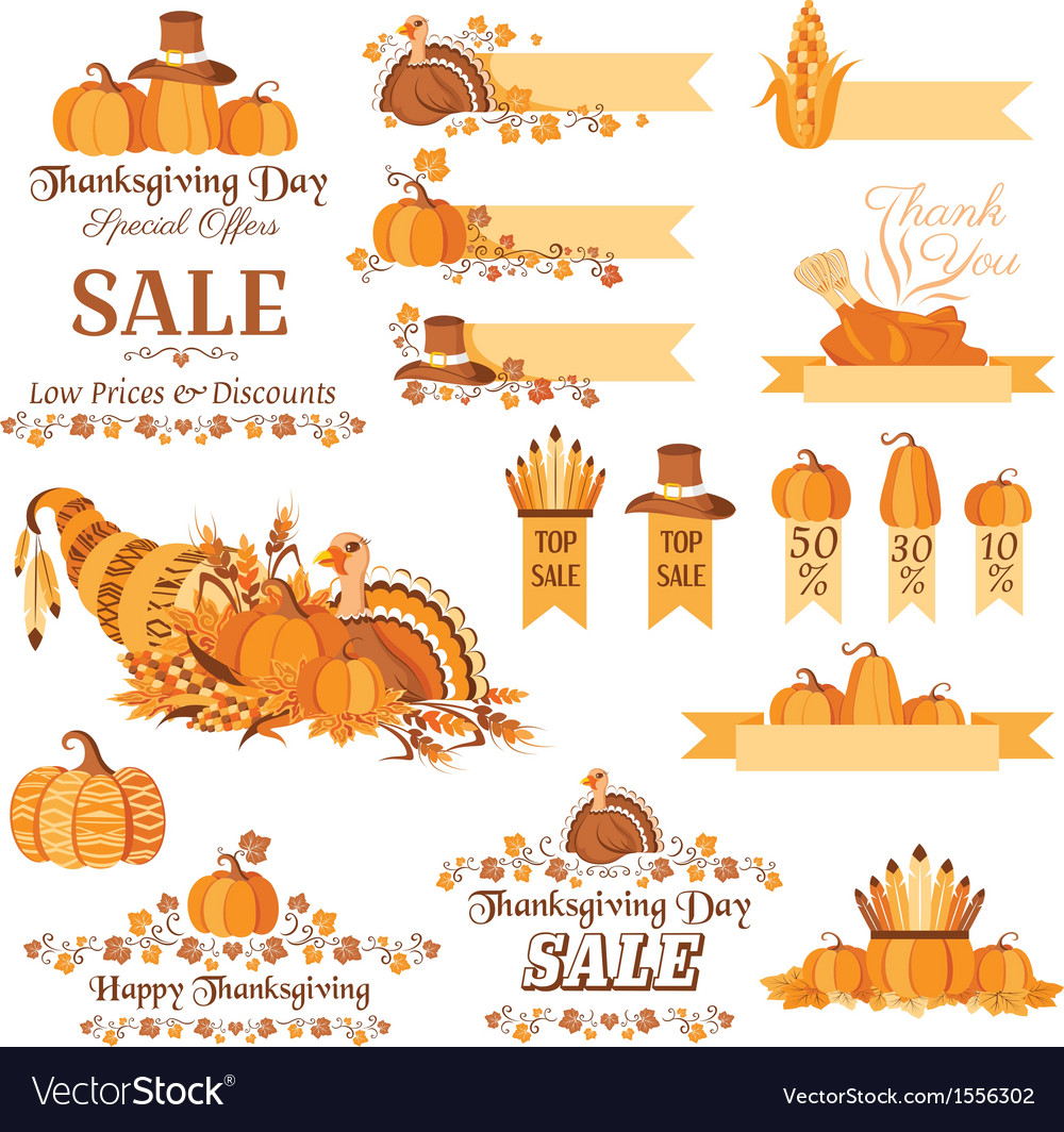 Thanksgiving sale decorative elements vector