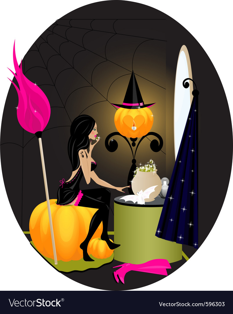 Witch bedroom vector