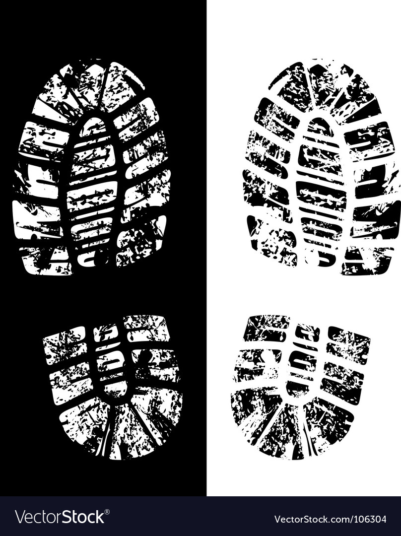 Grungy footprint vector