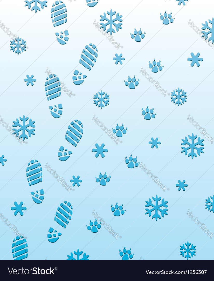 Foot prints on snow vector