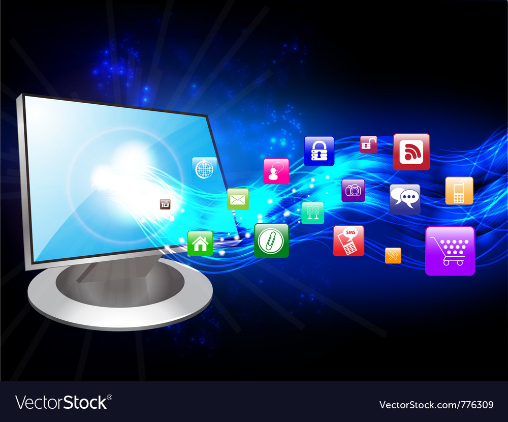Computer and icons vector