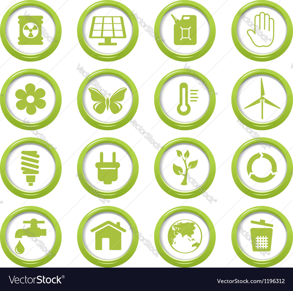 Eco green buttons set vector