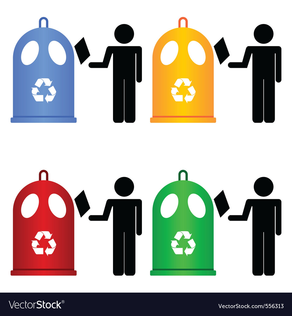Recycling trash signs vector