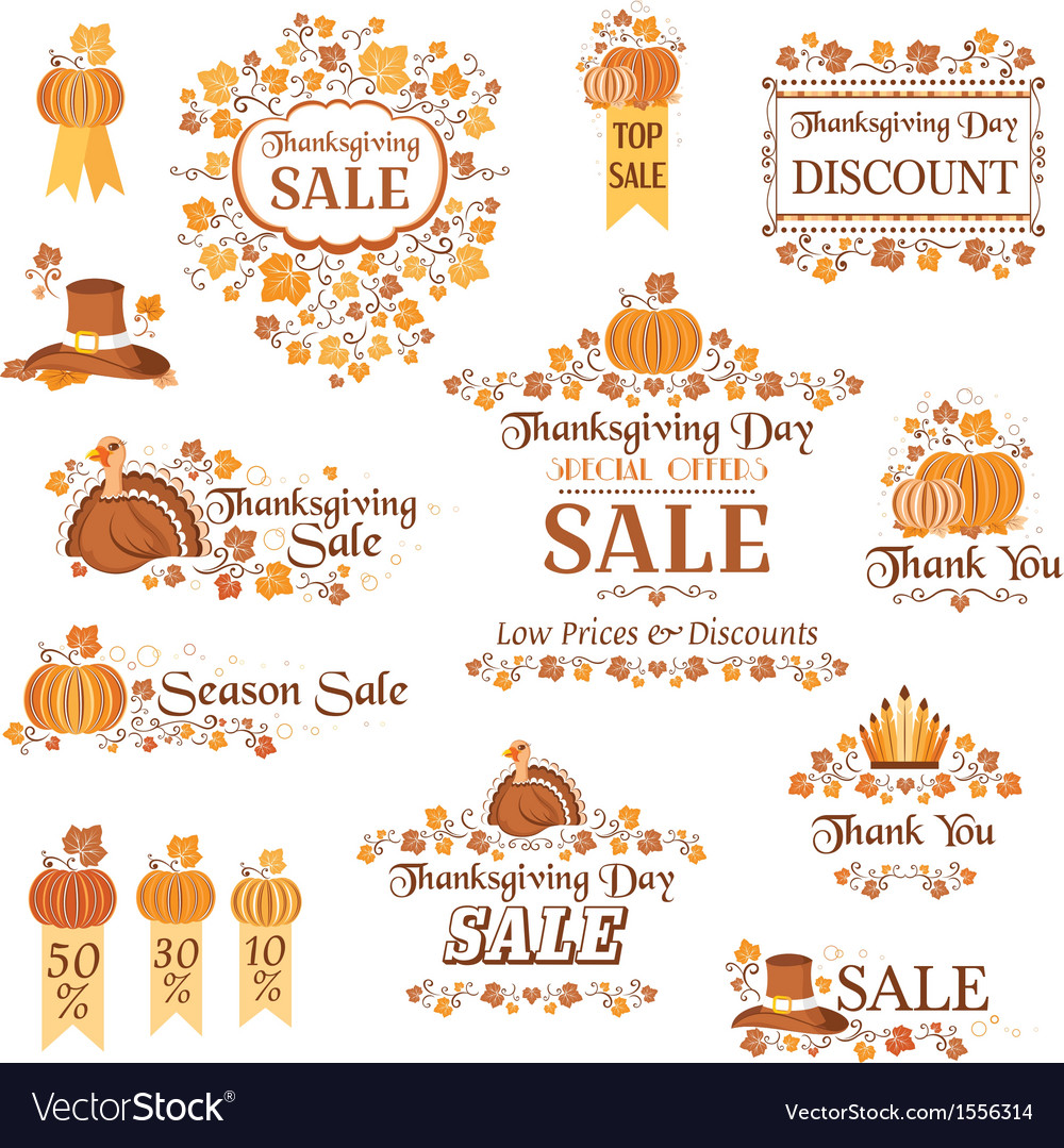 Thanksgiving day sale decorative elements vector