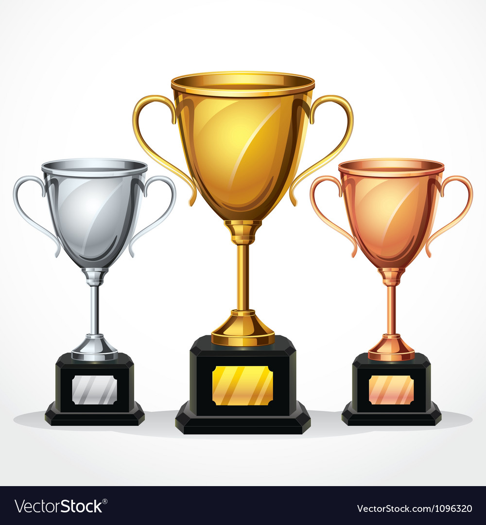 Trophy cup set vector