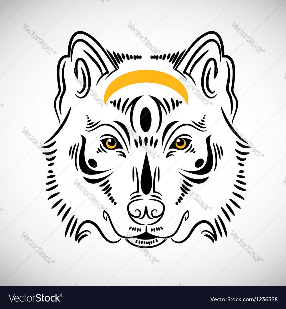 Wolf tattoo stylish ornate vector