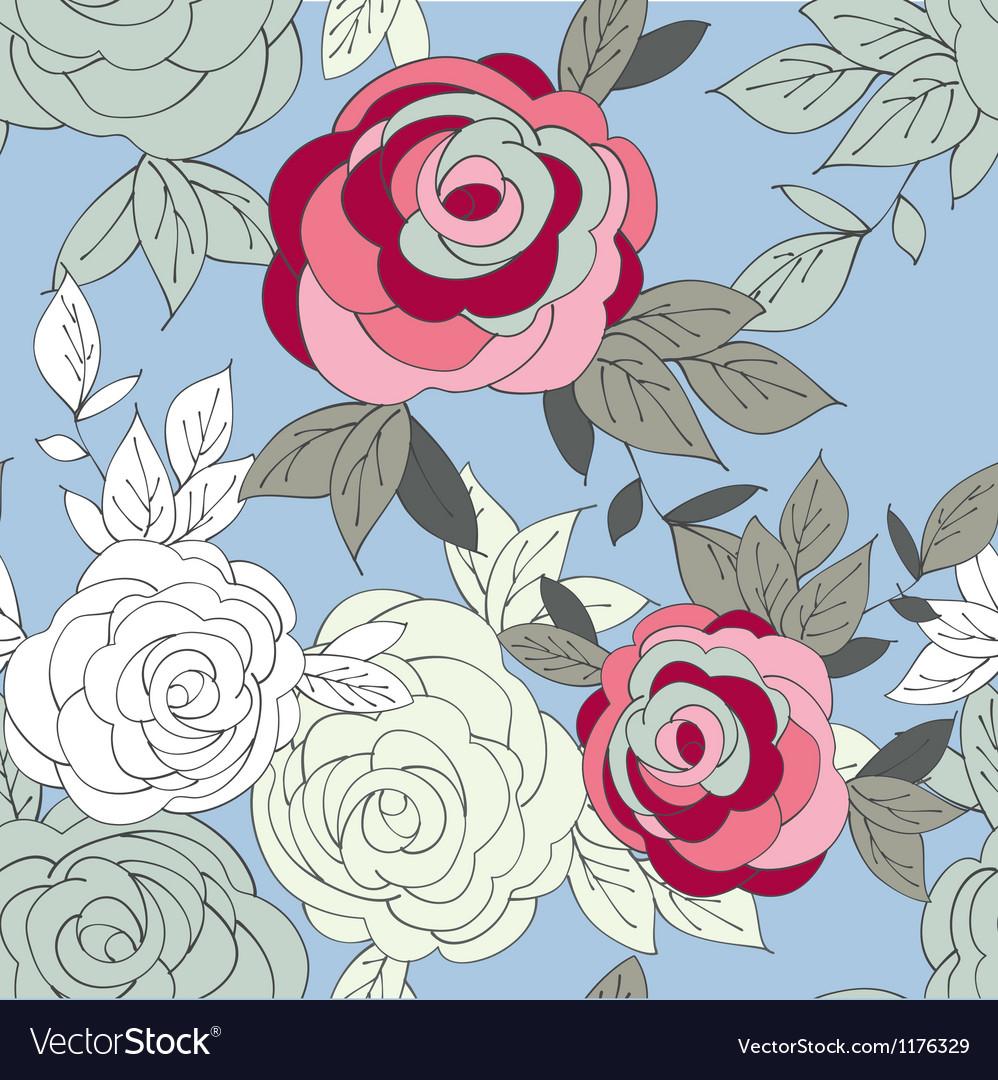 Pink peony flower seamless pattern vector