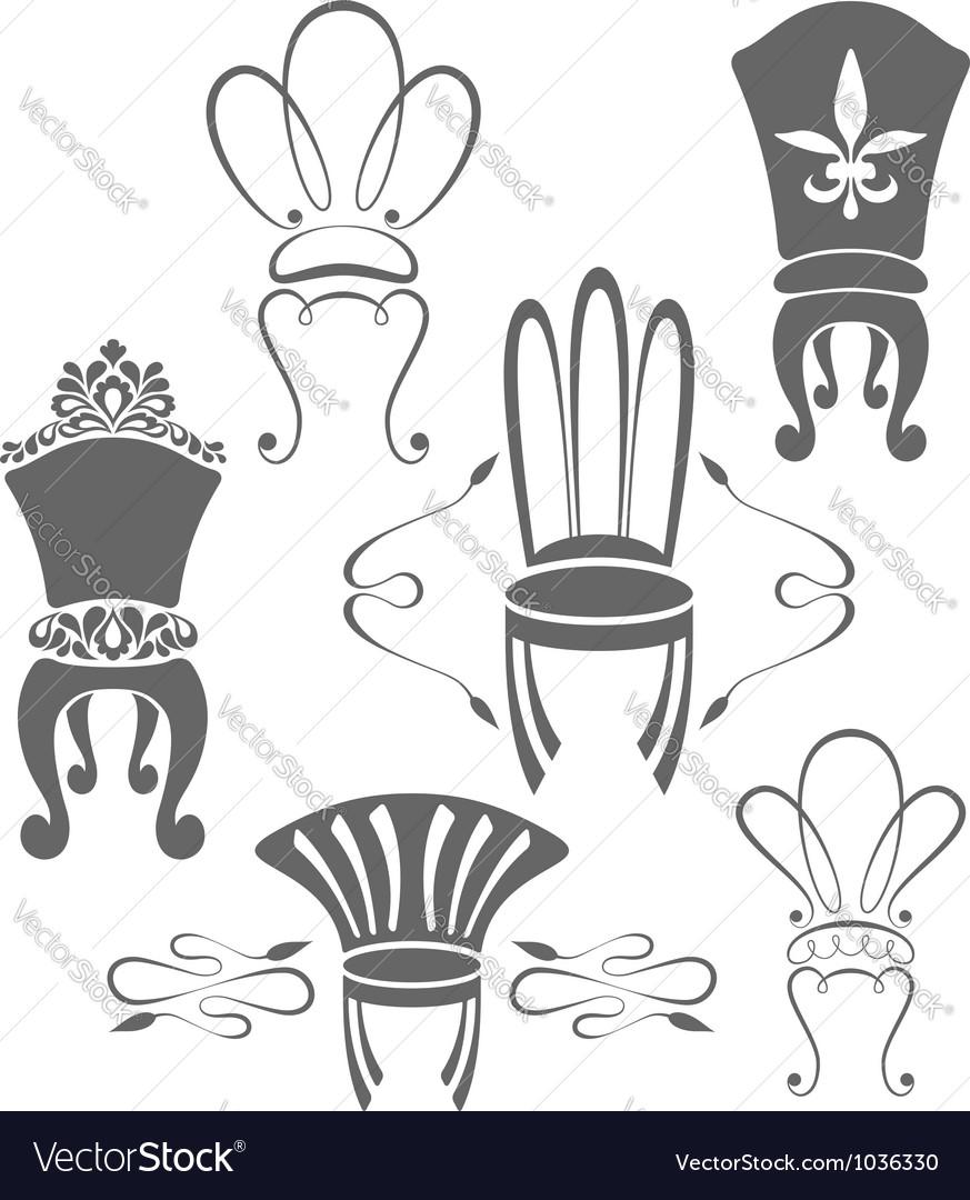 Vintage furniture symbols vector