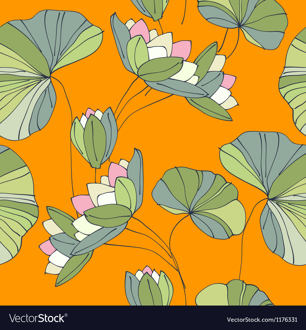 Free waterlily seamless flower tropical pattern vector