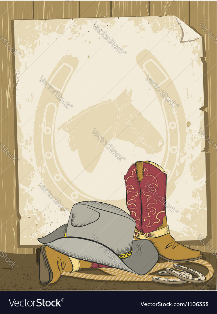 Cowboy boots and hat vector