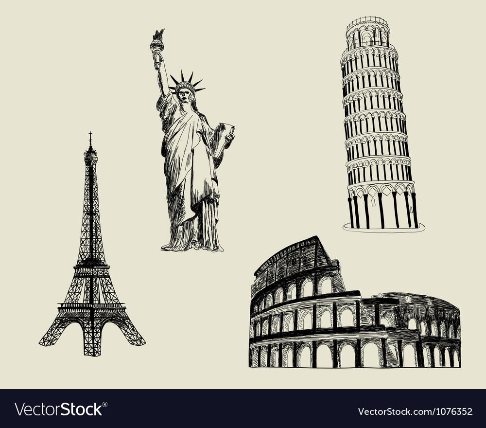 Sketch landmarks vector