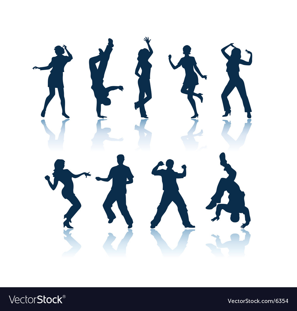 Dancing people silhouettes vector