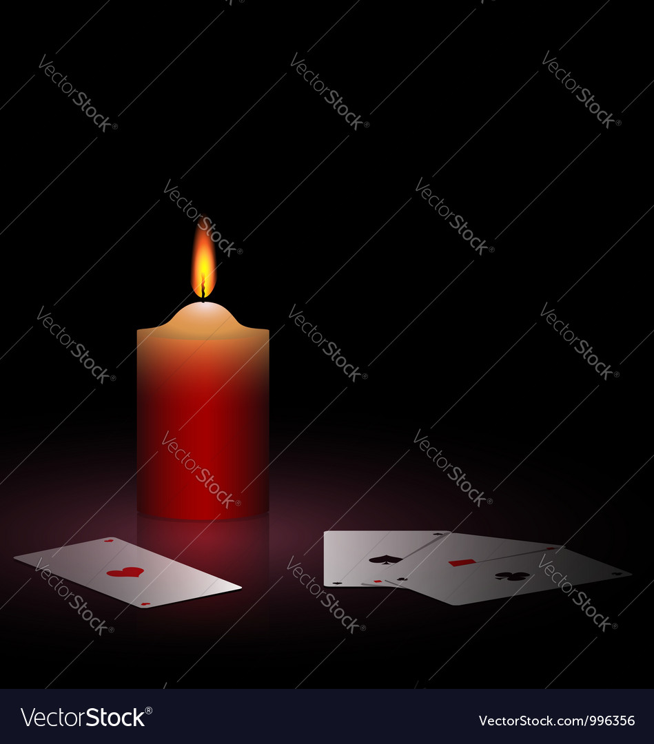 Burning candle and cards vector