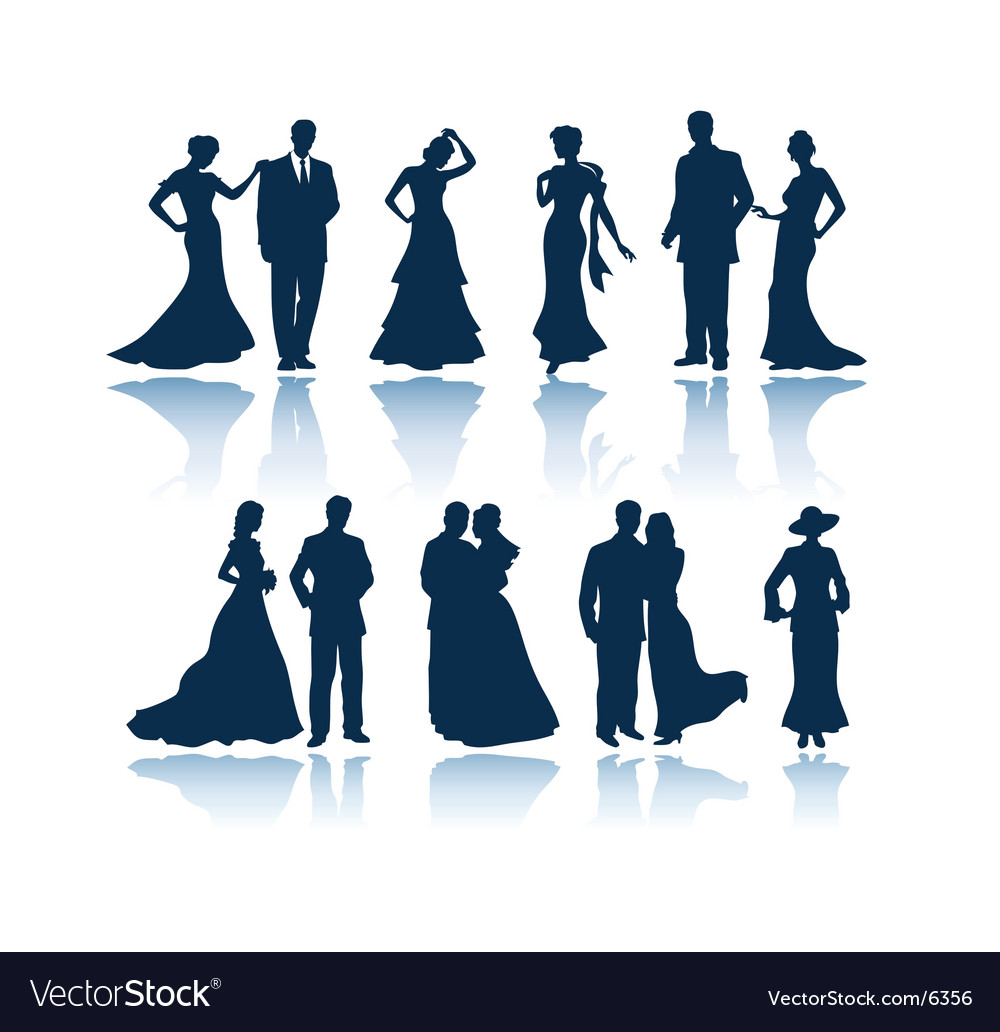 Evening people silhouettes vector