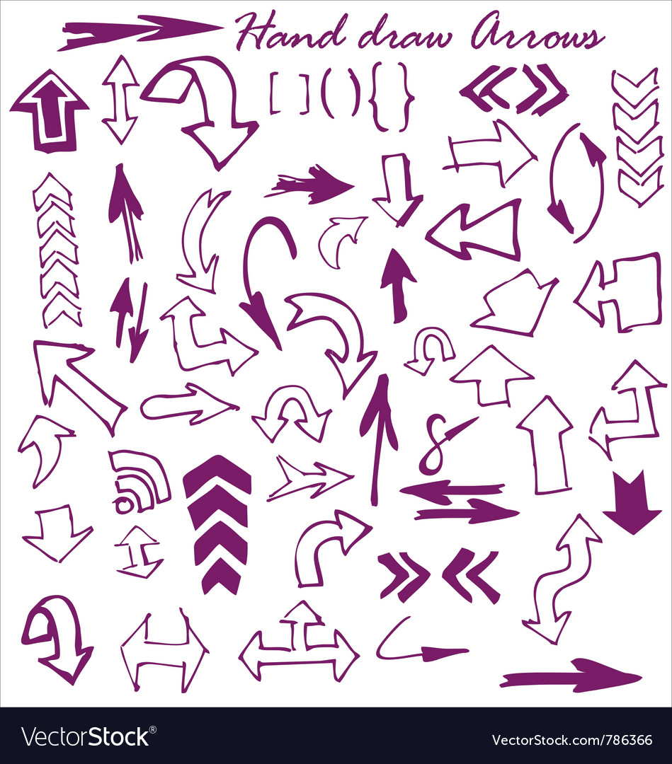 Hand draw arrows vector