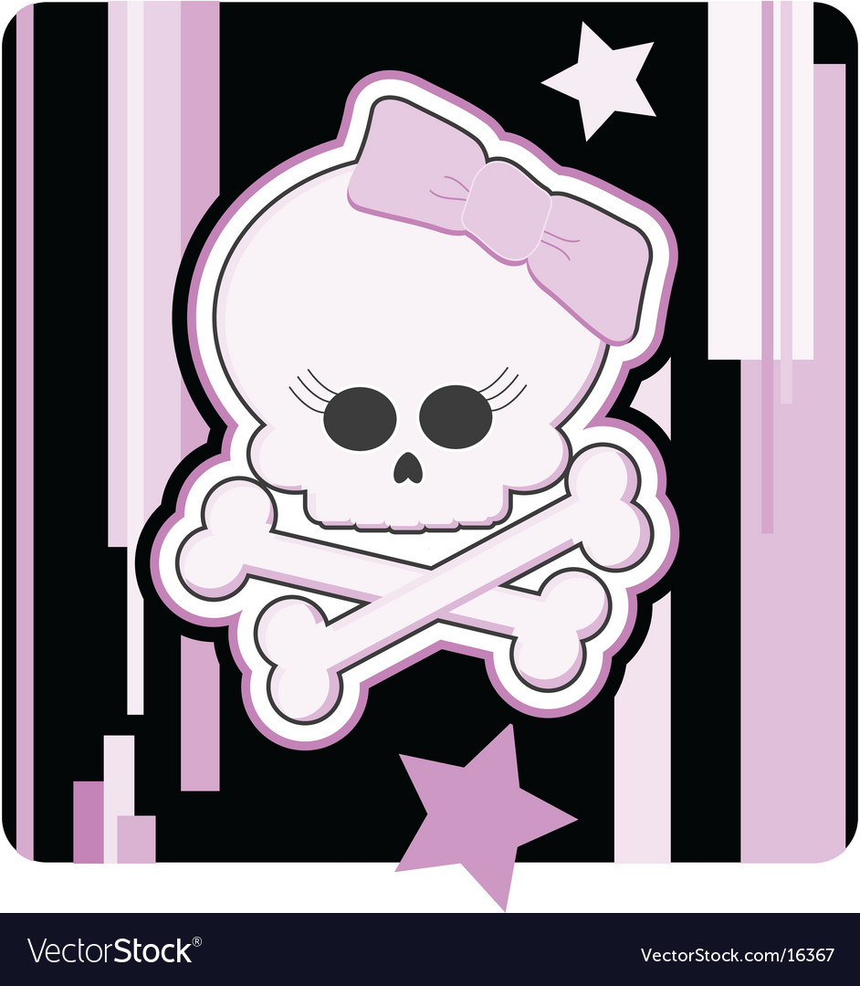 Girly skull and crossbones vector