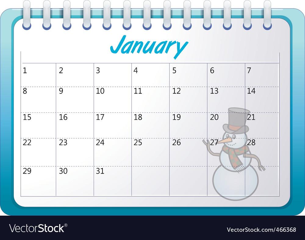 Cartoon january calendar vector art Download Winter vectors 466368