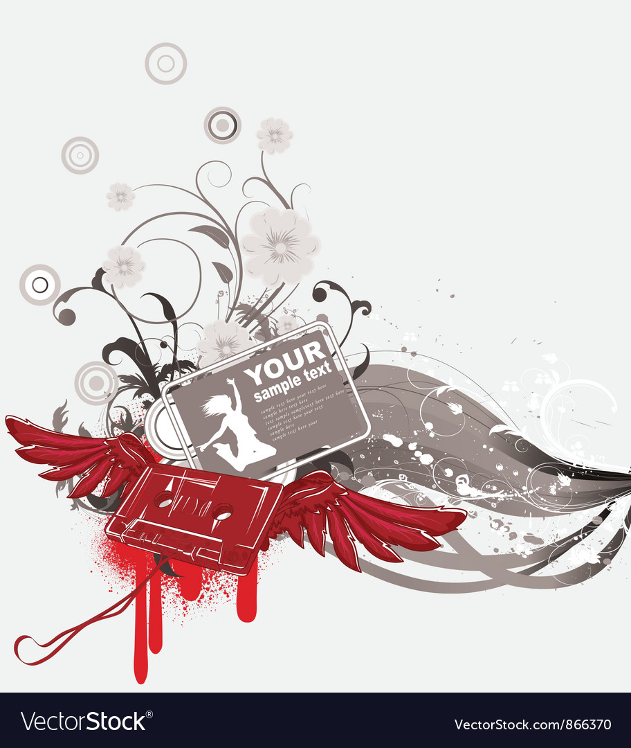 Cassette with wings and grunge vector