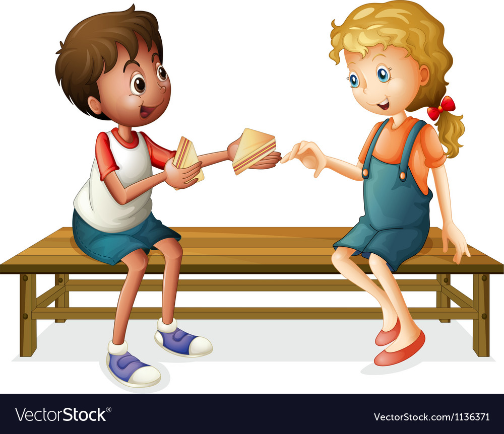Kids sitting on a bench vector