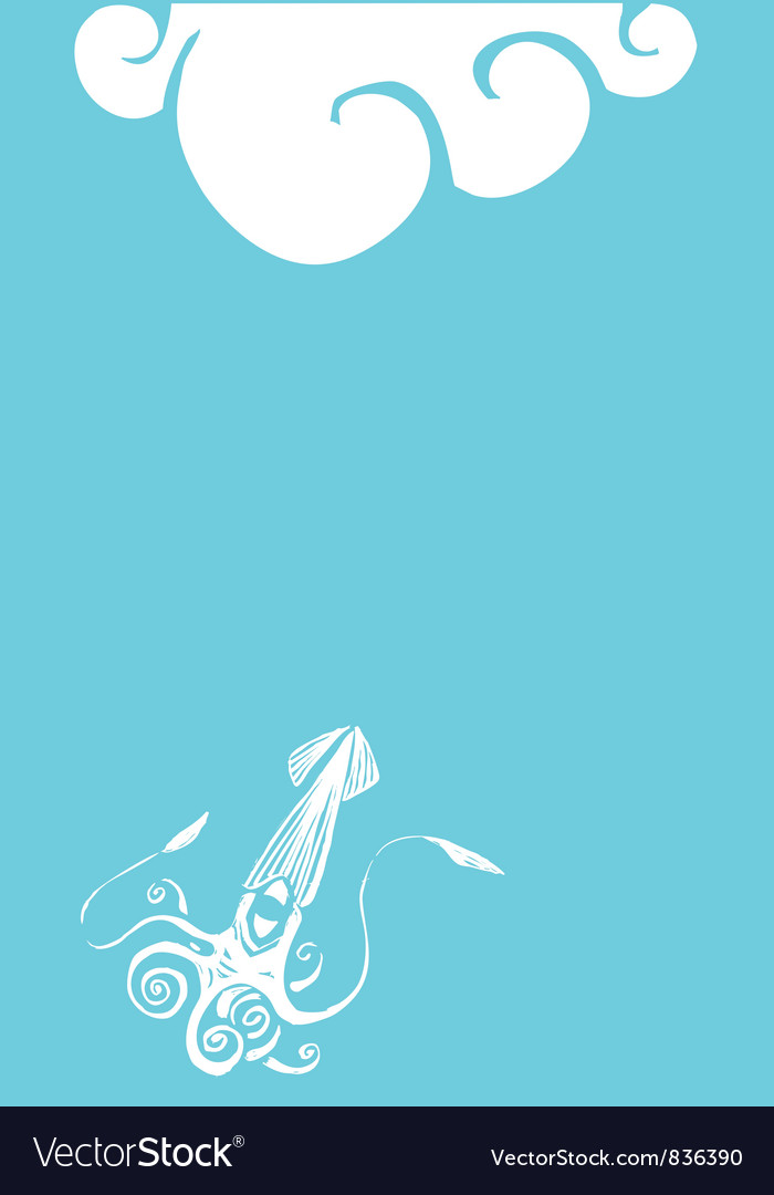 Giant squid blue vector