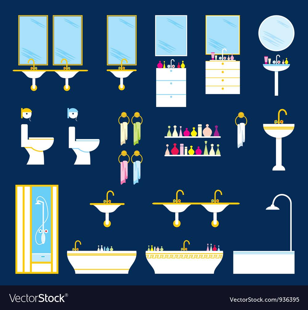 Bathroom equipment set vector
