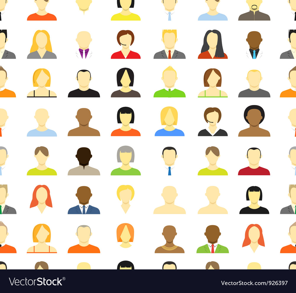 Account icons of men and women seamless background vector