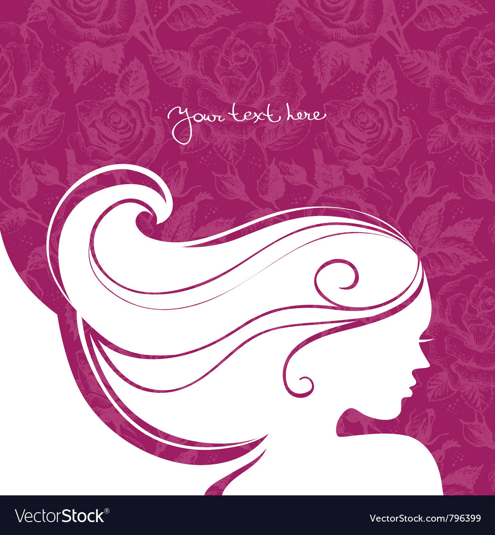 Background with beautiful girl silhouette vector