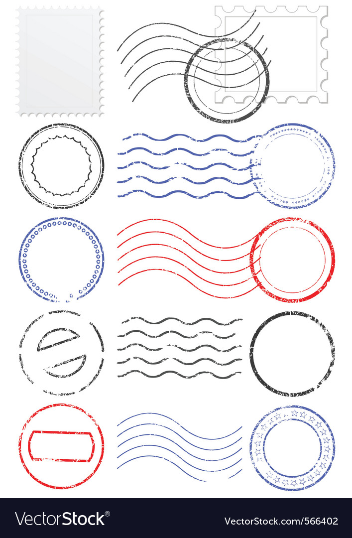 Set of postmarks and stamps vector