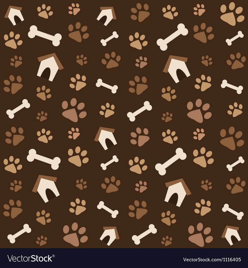 Brown pattern with footprints and bones vector