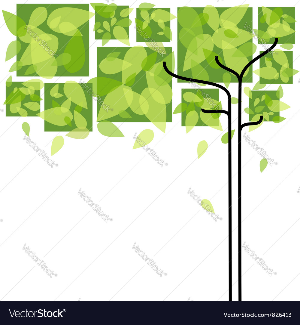 Abstract green tree background vector