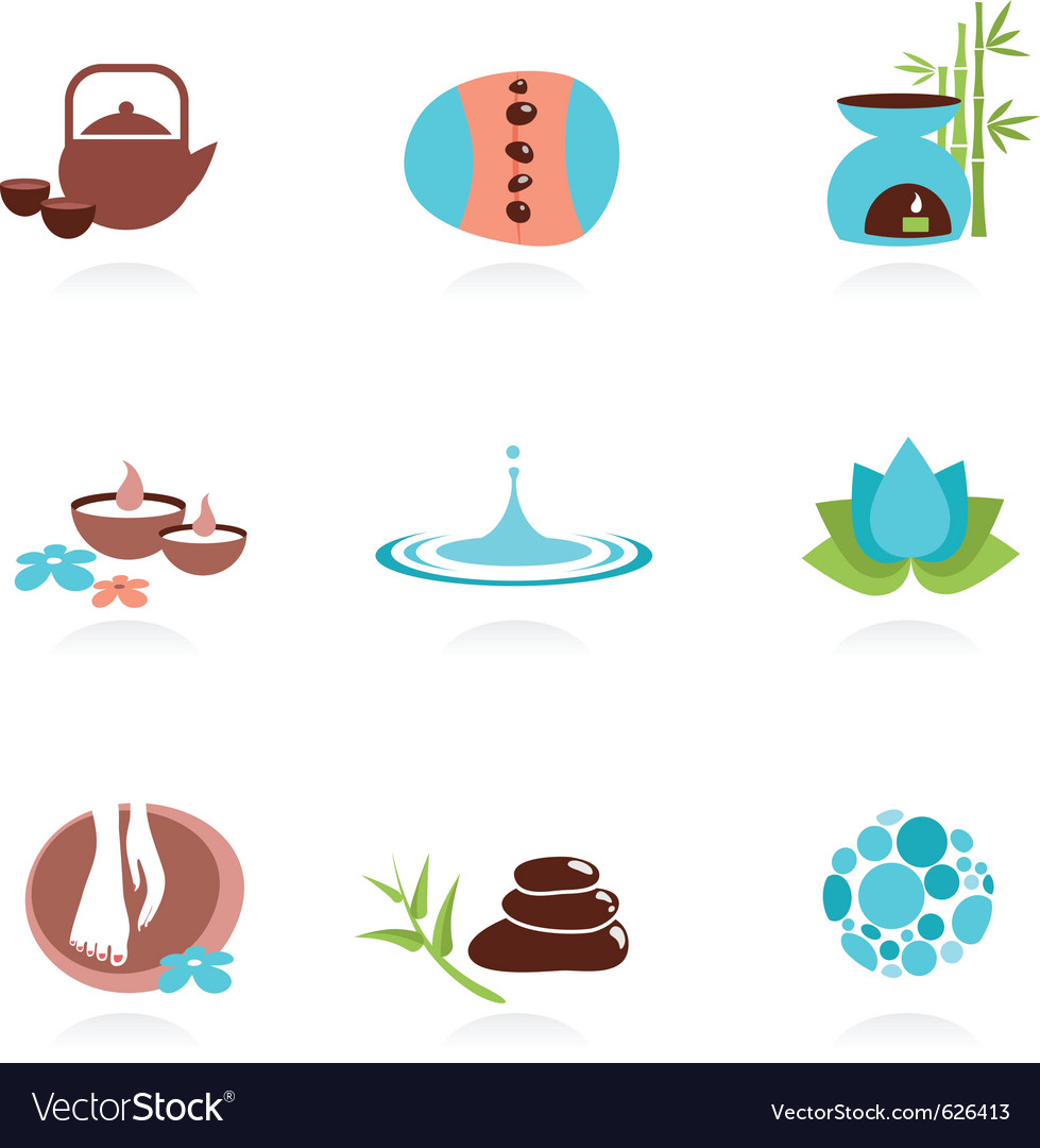 Collection of spa and zen icons vector