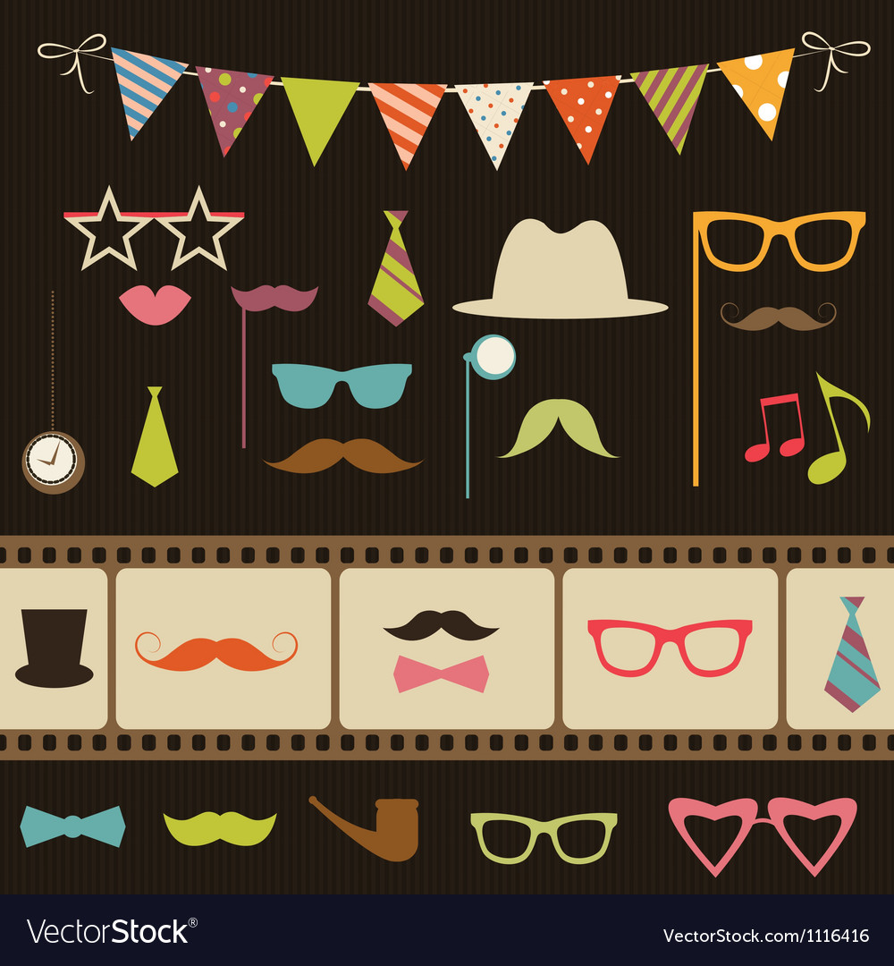Set of retro party elements vector