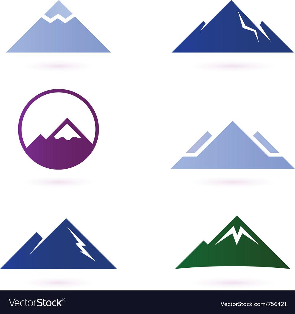 Mountain icons vector