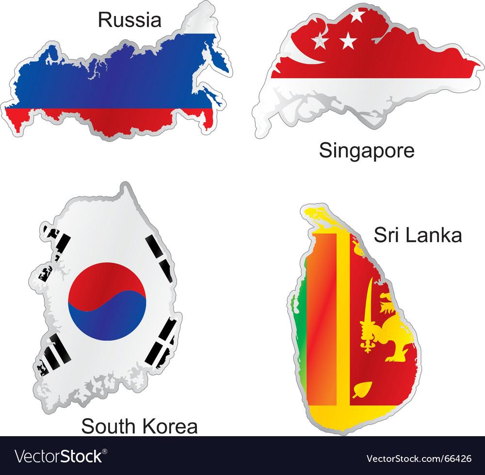 Asia maps vector
