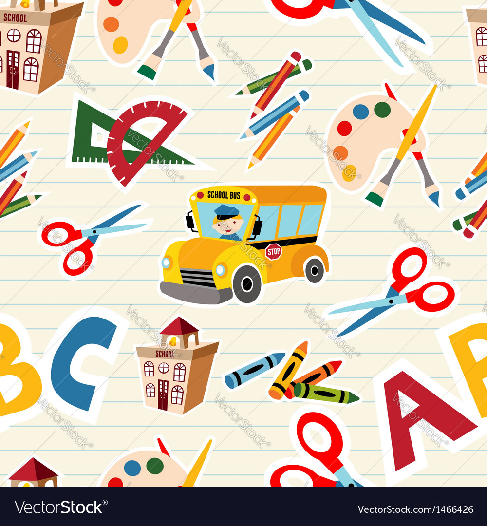 School stationery supplies pattern vector