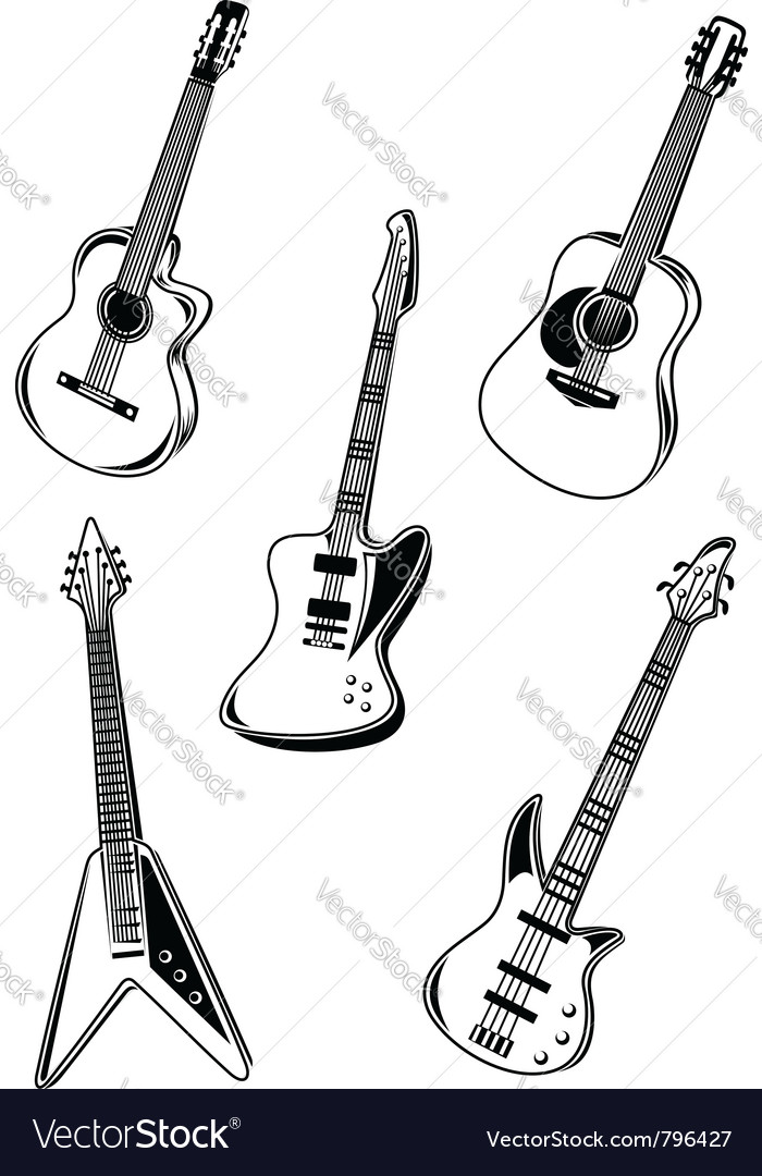 Music acoustic and electrical guitars vector