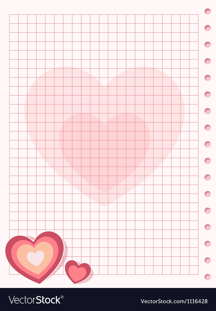 Pink squared paper sheet background with heart vector