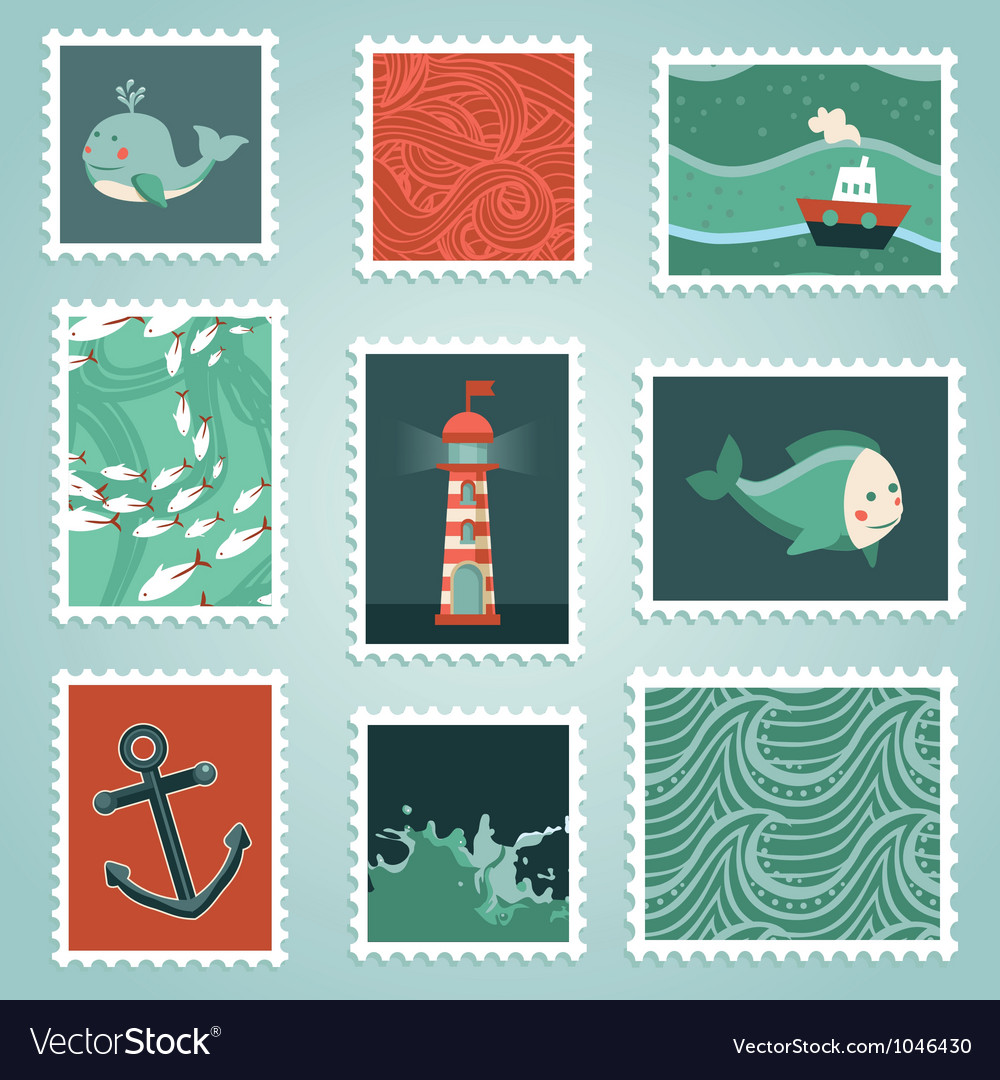 Set with stamps and sea design elements vector