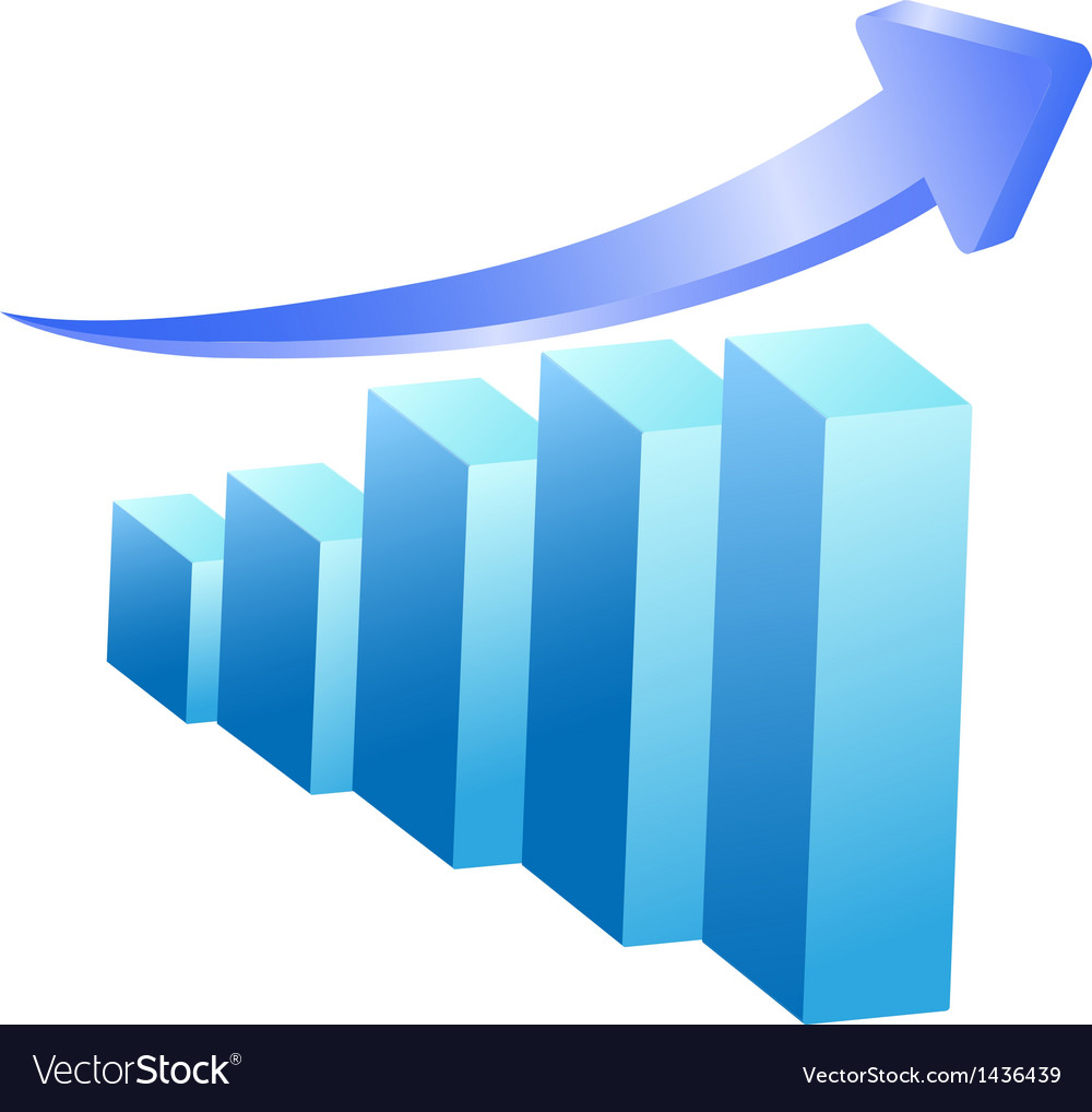 Business rising bar vector