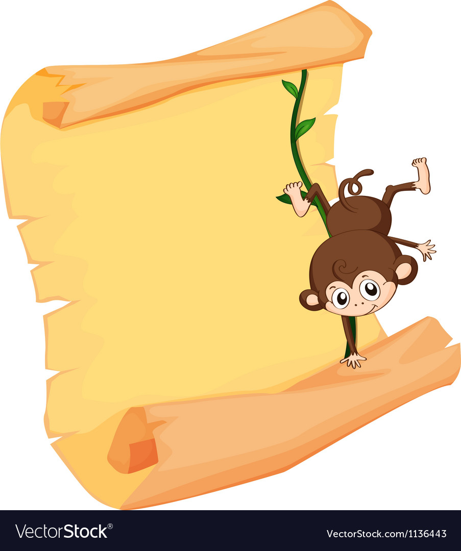 A monkey and a paper sheet vector