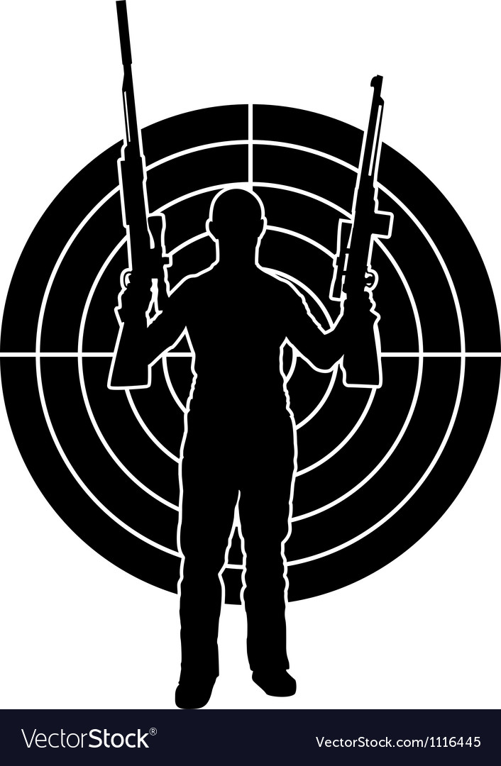 Man and target stencil vector