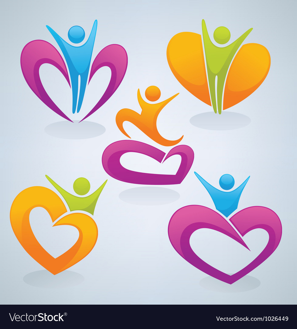 Love men and hearts vector