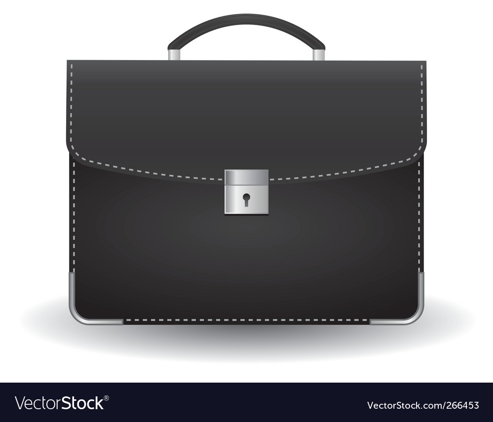 Black briefcase vector