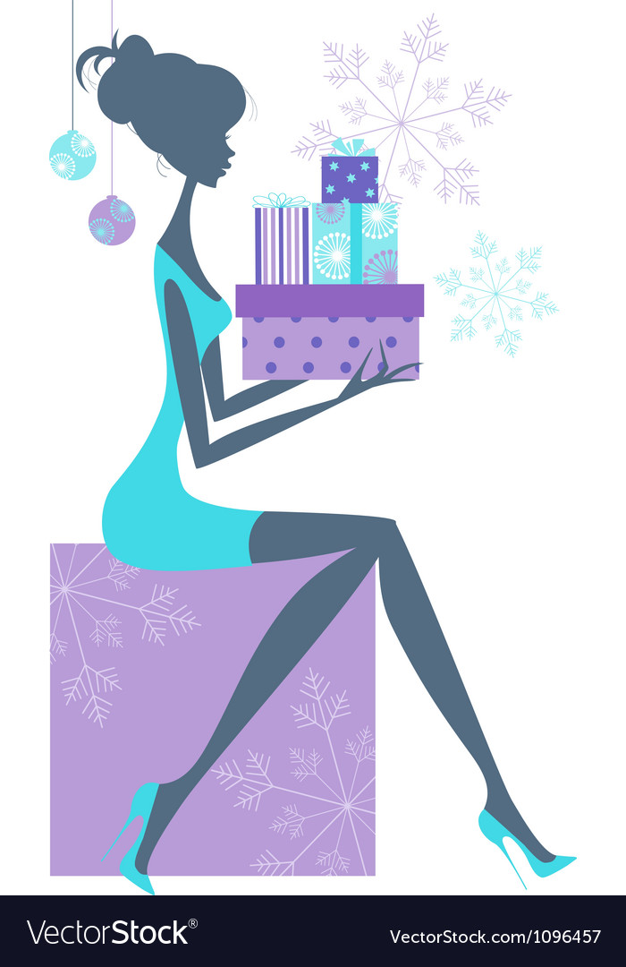 Girl with presents vector