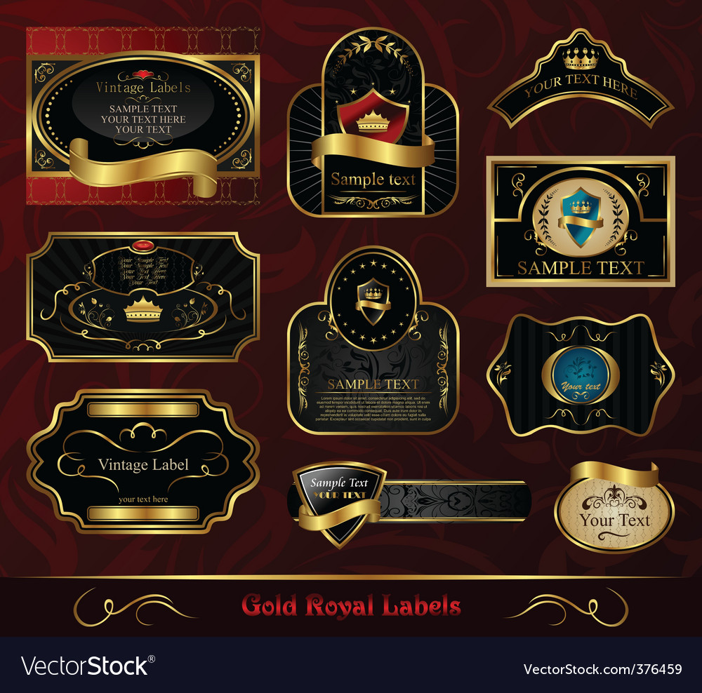 Free set black gold framed label vector