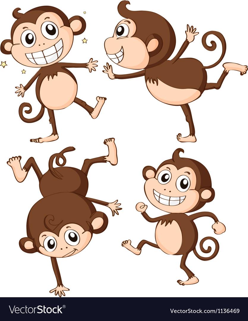 Four monkeys vector